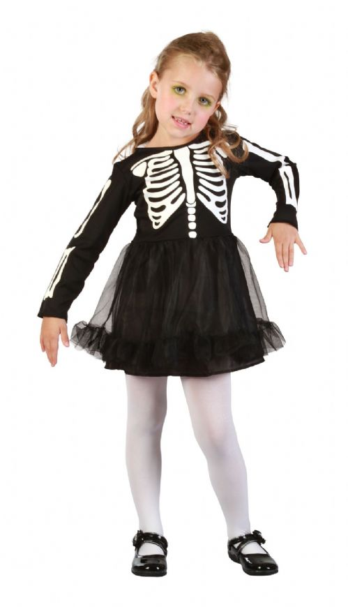 Childs Skeleton Girl Costume Living Dead Halloween Fancy Dress Outfit